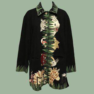 Anage Vintage Embroidered Jungle Animal Jacket - L